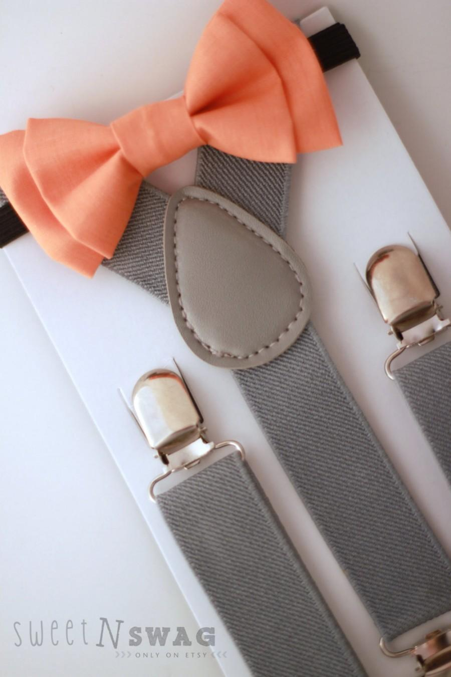 Wedding - SUSPENDER & BOWTIE SET.  Newborn - Adult sizes. Light Grey suspenders. Orange Bow tie.