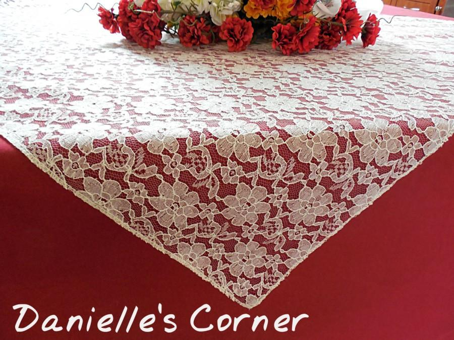 Mariage - Wedding lace tablecloth ivory lace table topper  wedding table decoration