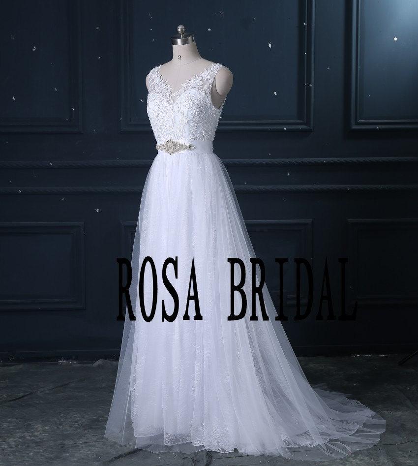 Свадьба - Sexy v neck lace wedding dress a line beach wedding dress with Beaded Sash Custom Size