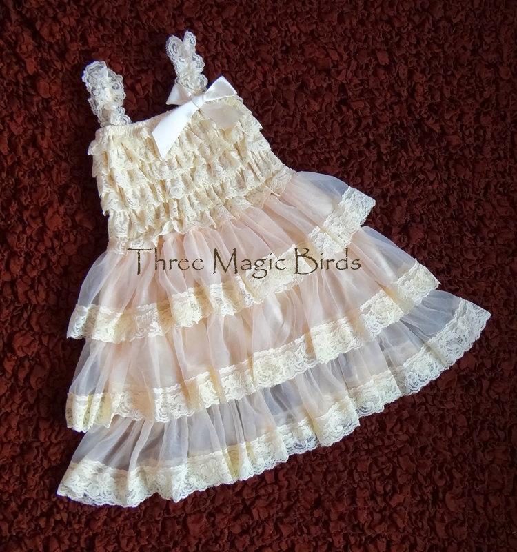 Свадьба - SALE Champagne Lace Rustic Flower Girl Dress-Bridesmaid-Chiffon Flower Girl Dress-Country Wedding-Cream Flower Girl Dress-Bridesmaid Dress