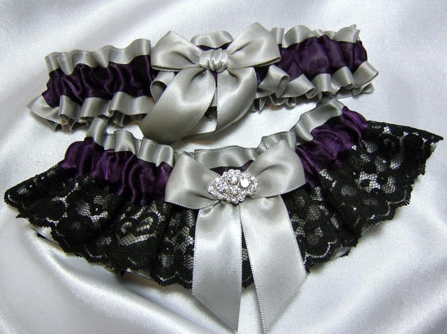 Свадьба - Plum Purple Satin Garter with Black Lace - Toss garter included - Available in White, Platinum, or Ivory - Plus Size Too