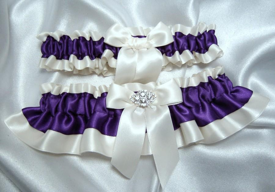 Regency Purple Wedding Garter Set W Hand Tied Bow And Crystal Charm Toss Included Plus Size Too