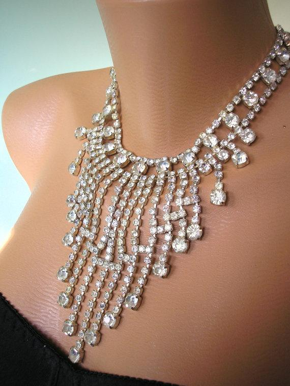 Statement Necklace Great Gatsby Jewelry Rhinestone