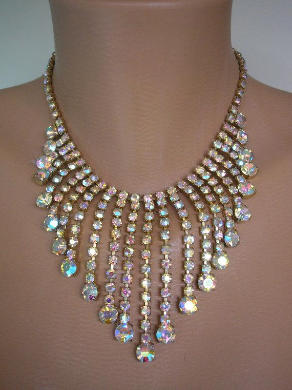 Wedding - Aurora Borealis Necklace, Statement Necklace, Great Gatsby Jewelry, Rhinestone Bib, Diamante, Waterfall, Vintage Collar, Bridal Choker, Deco