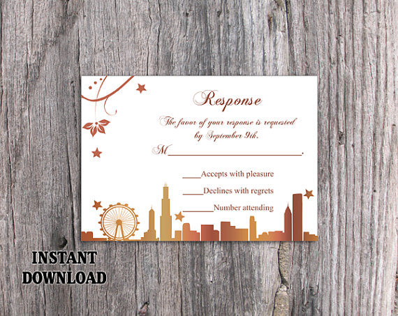 Wedding - DIY Wedding RSVP Template Editable Word File Download Rsvp Template Printable RSVP Card Chicago Skyline Rsvp Card Template Elegant Rsvp Card