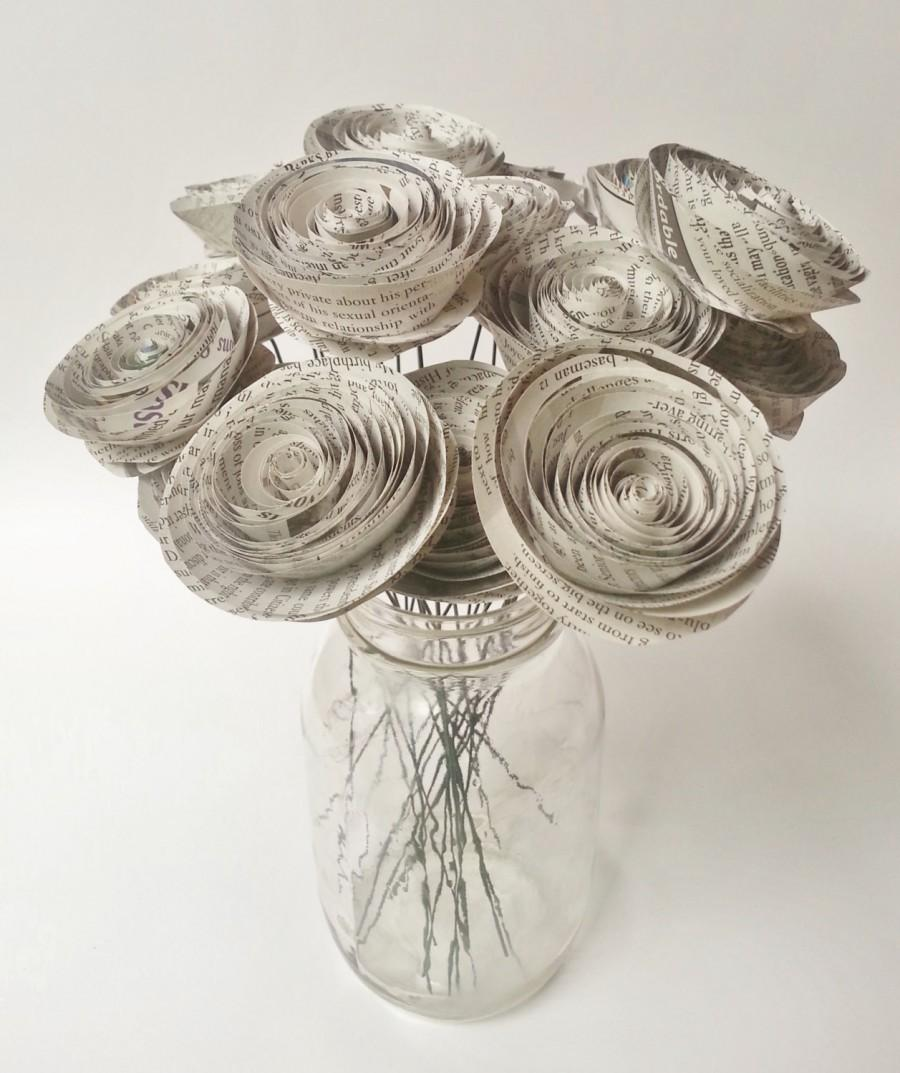 Paper Flower Bouquet Newspaper Flower Bouquet Handmade Rolled