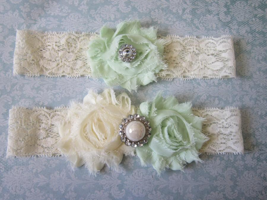 Hochzeit - Mint Green & Ivory Wedding Garter Set - Choose Rhinestone or Pearl