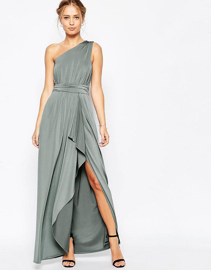 Свадьба - ASOS COLLECTION ASOS WEDDING One Shoulder Sexy Slinky Maxi Dress