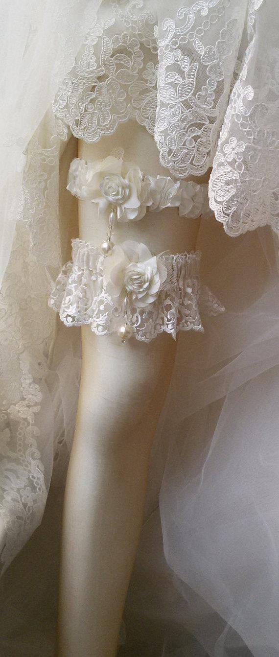 Свадьба - Wedding garters, Wedding leg garter, Garter, Bridal Garter Set ,İvory Lace Garters, Bridal Accessory,Wedding Accessory