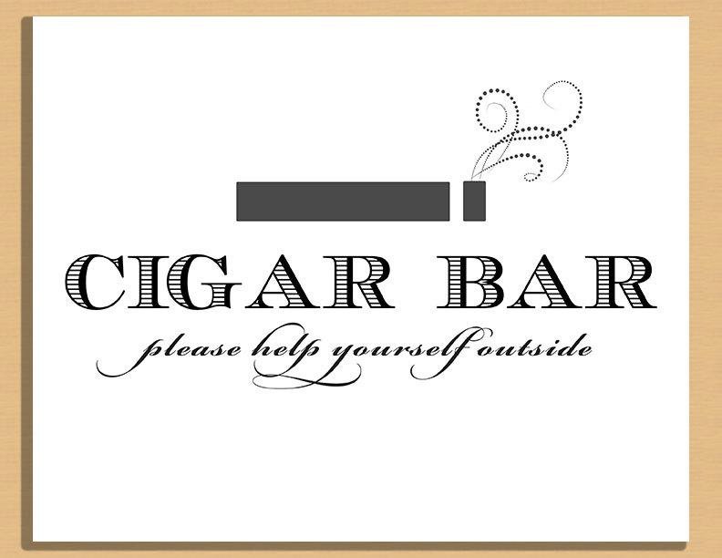 Свадьба - Printable Wedding Sign - Cigar Bar Sign, Wedding and Event Signage -  Instant Download