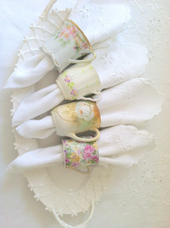 Свадьба - Napkin Rings Downton Abbey Inspired Vintage Demitasse Bone China Tea Cup Napkin Rings Set Of 4 Shabby Chic Decor Tea Party