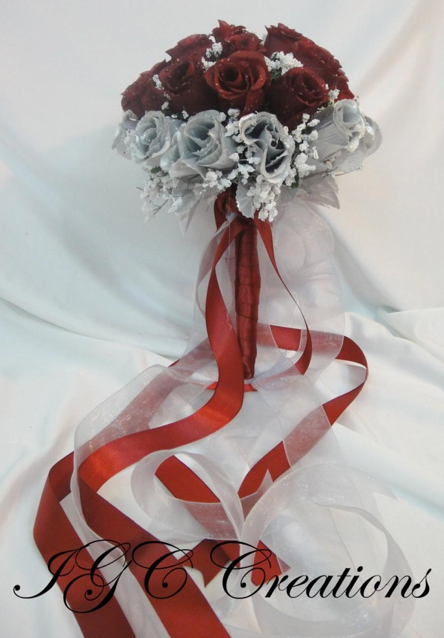 Hochzeit - Wedding Bridal Floral Bouquet - Silk Rose Flowers - Burgundy And Silver With Raindrops And Organza / Satin Ribbons (SRWB-042)