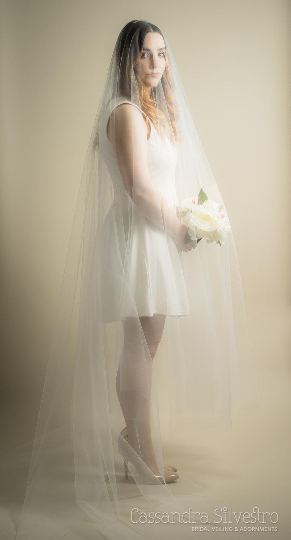 Свадьба - Long Blusher Sheer Drop Extra Wide Wedding Veil (Cathedral Veil, Illusion Veil, Drape Veil, Long Veil, Waltz, Chapel, Kim Kardashian veil)