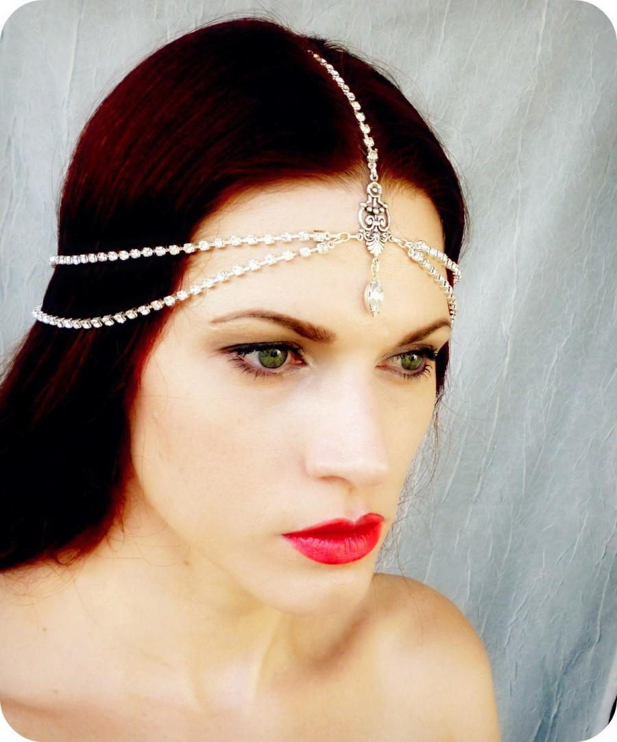 Hochzeit - Art Deco Headpiece - Vintage Headdress - Rhinestone Head Piece - Bridal Headpiece - Flapper Headdress - Vintage Wedding