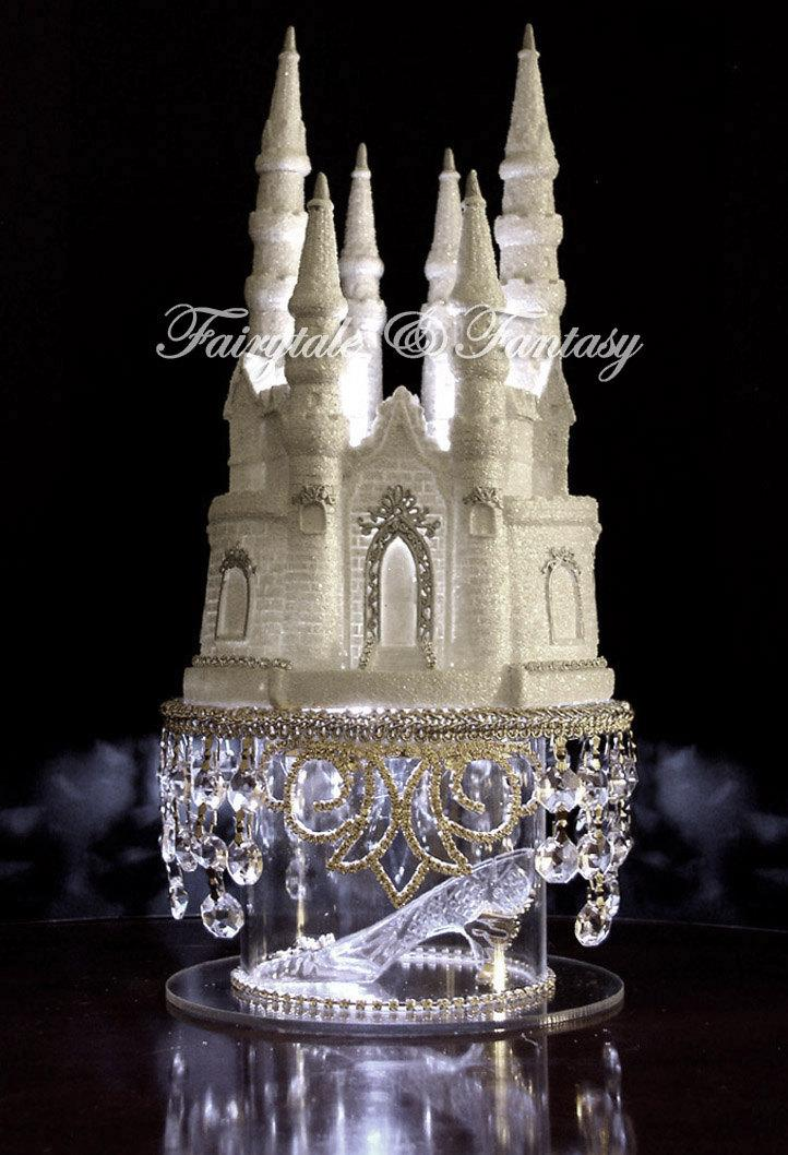 Hochzeit - Cinderella Castle Cake Topper Wedding Fairytale with Swarovski Crystals and Rhinestones LIGHTED