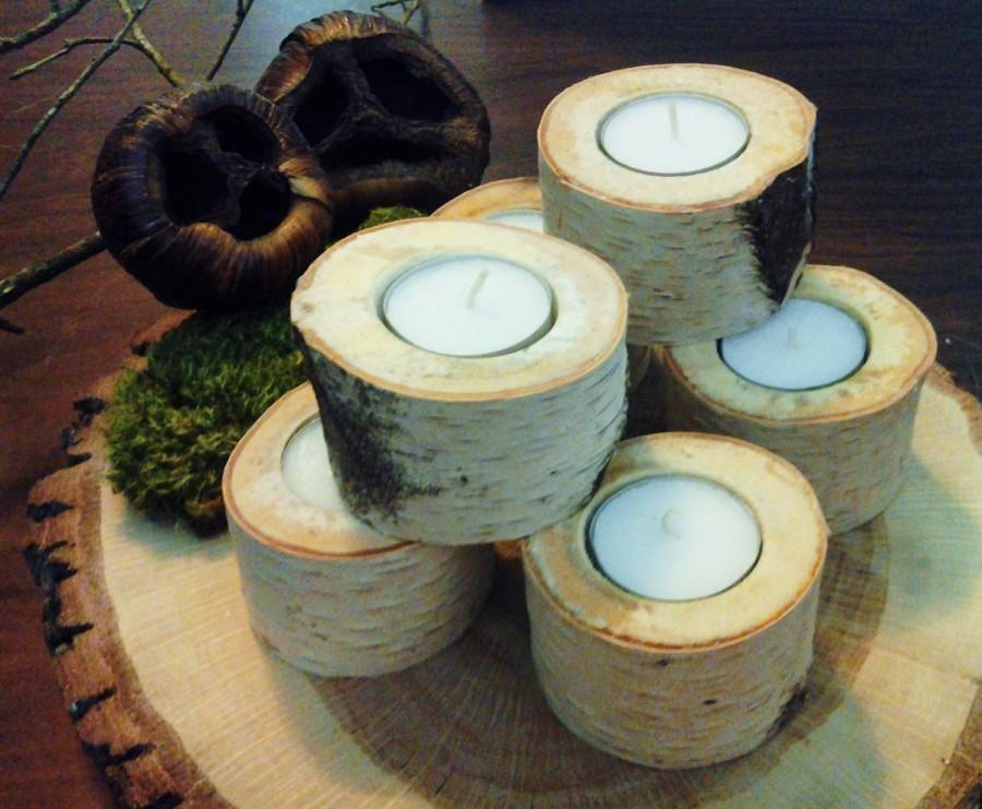 Hochzeit - TREASURY ITEM - (18)  White Natural Birch Tea Light Candleholder -Tree branch candles -  Rustic Wedding decor - Home decor