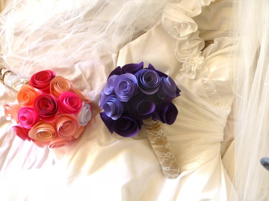 Свадьба - Custom Colors Bridal Bouquet, Bridesmaid Bouquet, Choose Your Own Colors, Toss Bouquet, Paper Flowers,