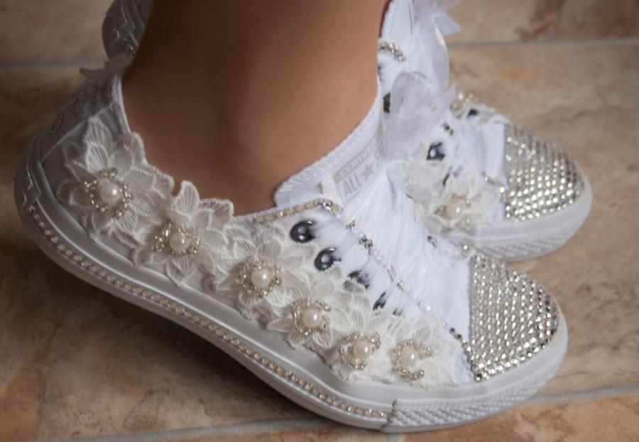 Wedding Converse Trainers With Crystals Lace Pearls Bridal Tennis Shoes
