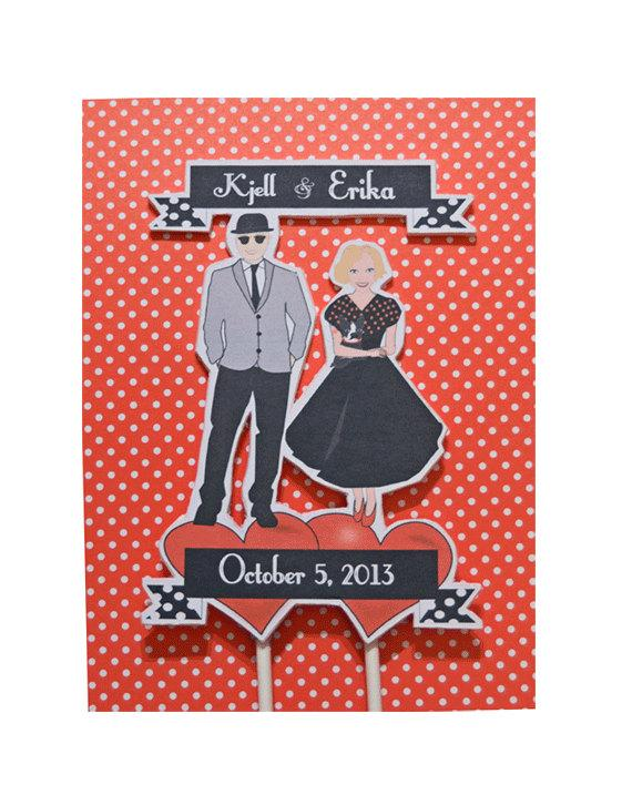 زفاف - Wedding Cake Topper Custom Bride Groom DIY Illustration Rockabilly Retro Vintage
