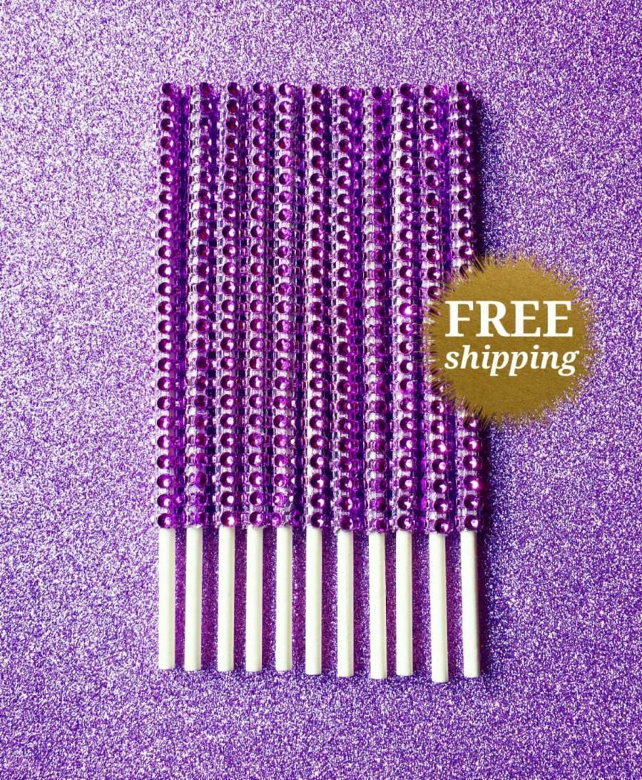 Свадьба - Lollipop Sticks Purple Cake Pop Sticks Bling Candy Buffet Supplies Dessert Buffet Sticks  Purple Bling Rhinestone Sticks