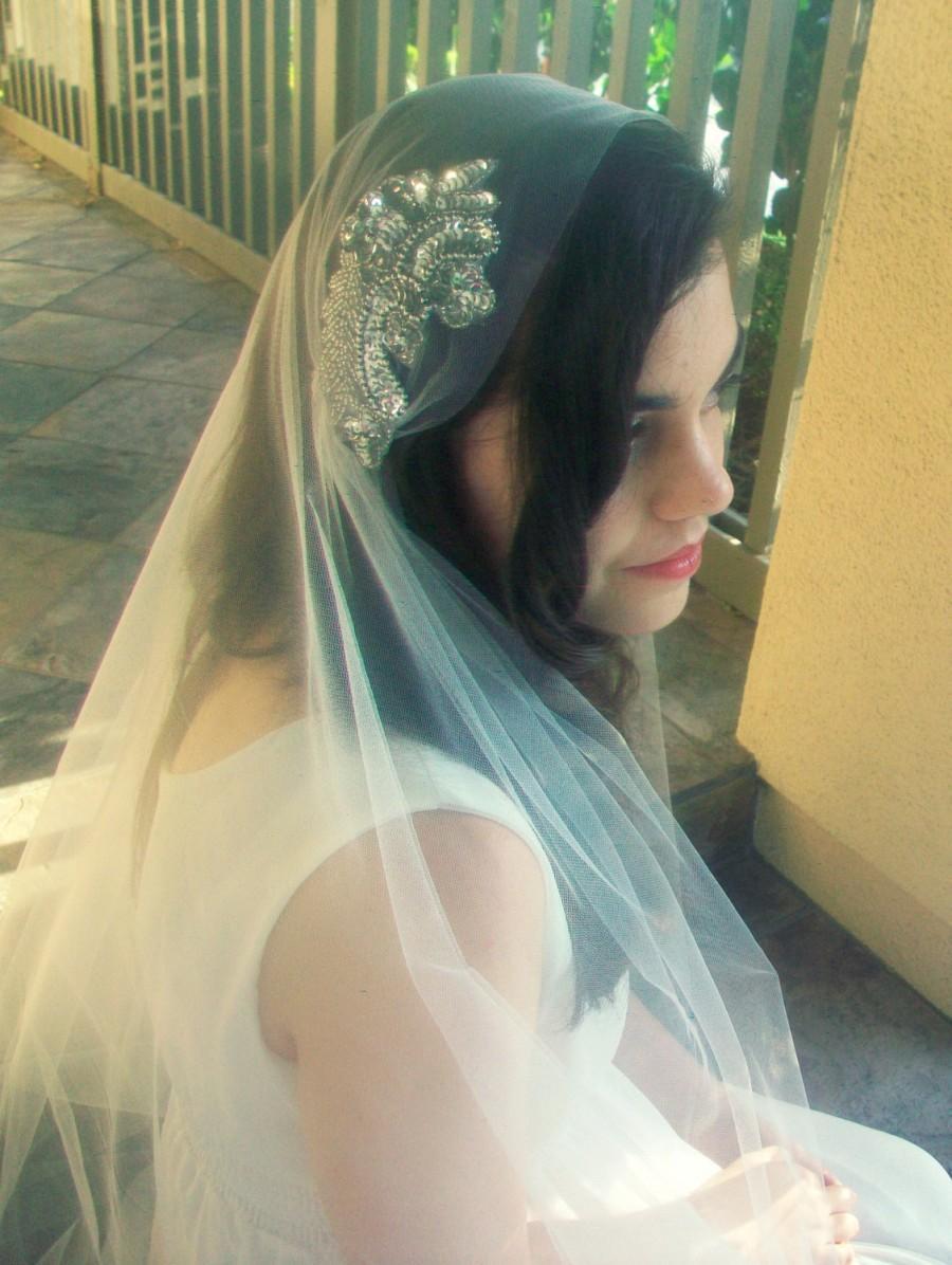Свадьба - Juliet Cap Veil- White, Off White, Ivory Beaded Wedding Veil- Bridal Cap Veil, Gatsby Veil, Fingertip Veil with Blusher, Crystal Bridal Veil