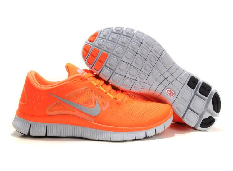 Authentic Women Nike Free Run 3 Total Orange Silver ...