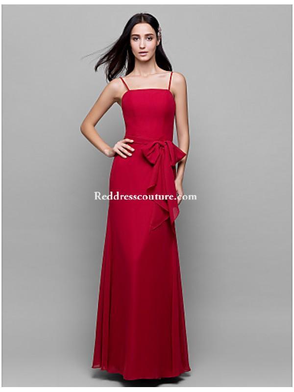 زفاف - Ankle-length Chiffon Bridesmaid Dress - Burgundy Sheath/Column Spaghetti Straps Bridesmaid Dresses