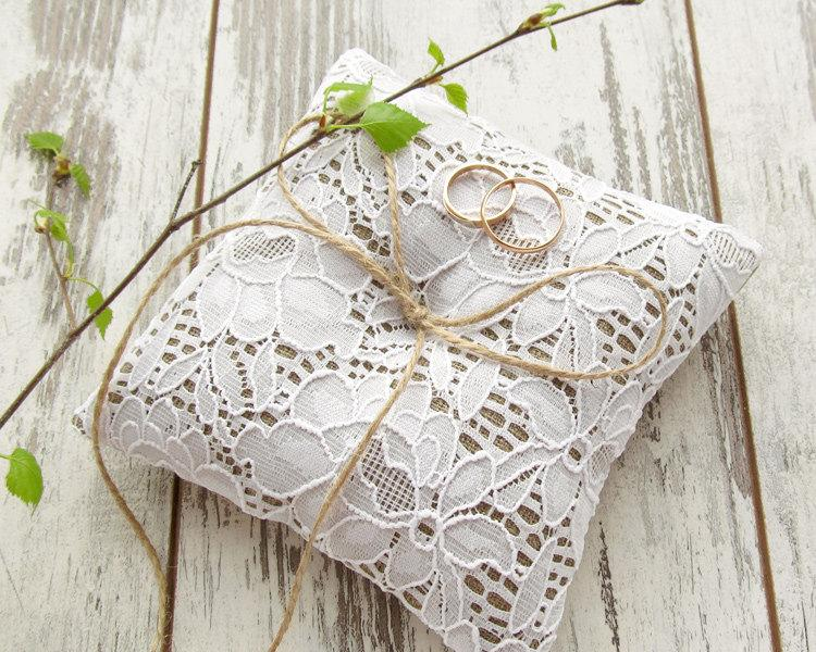 Wedding - White wedding rustic ring pillow, burlap and lace bearer pillow
