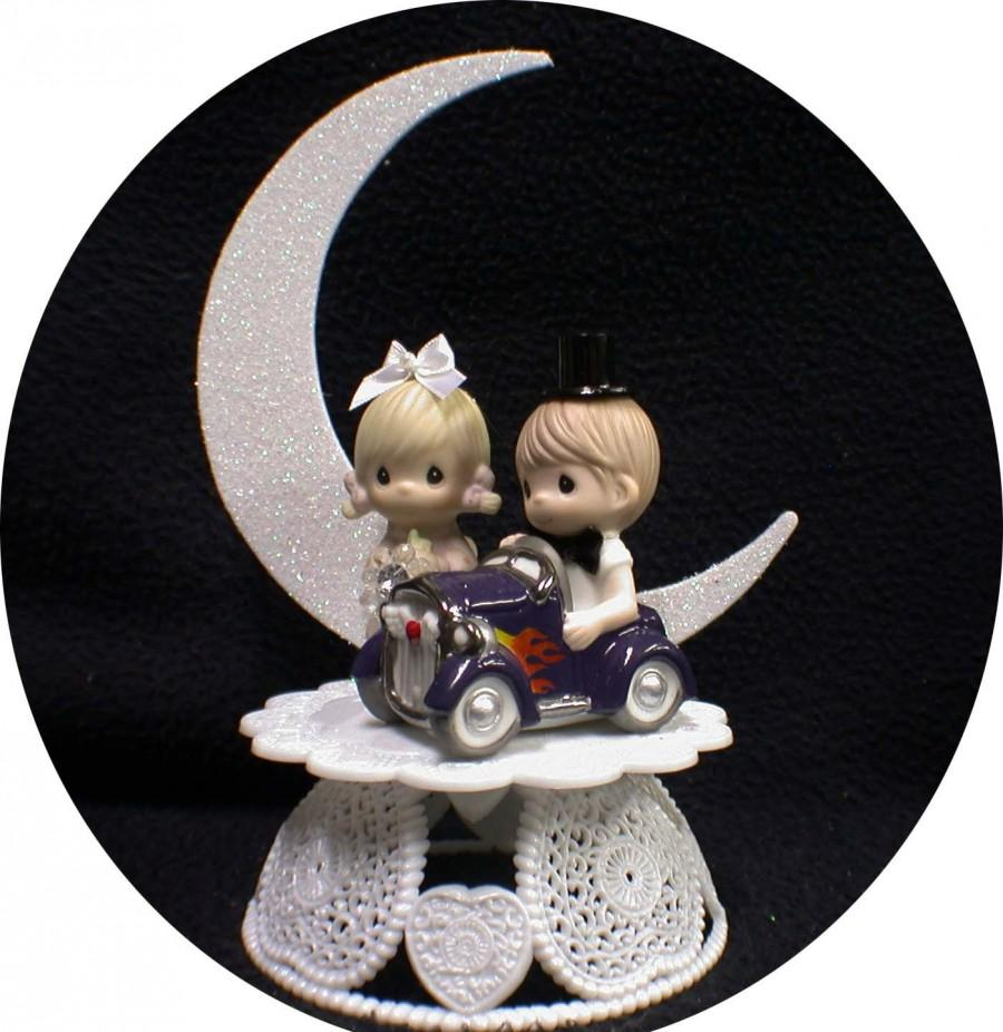Hochzeit - Classic Car  w/ Precious Moments Figurines Wedding Cake Topper Hot ROD Racing 1 of a kind!