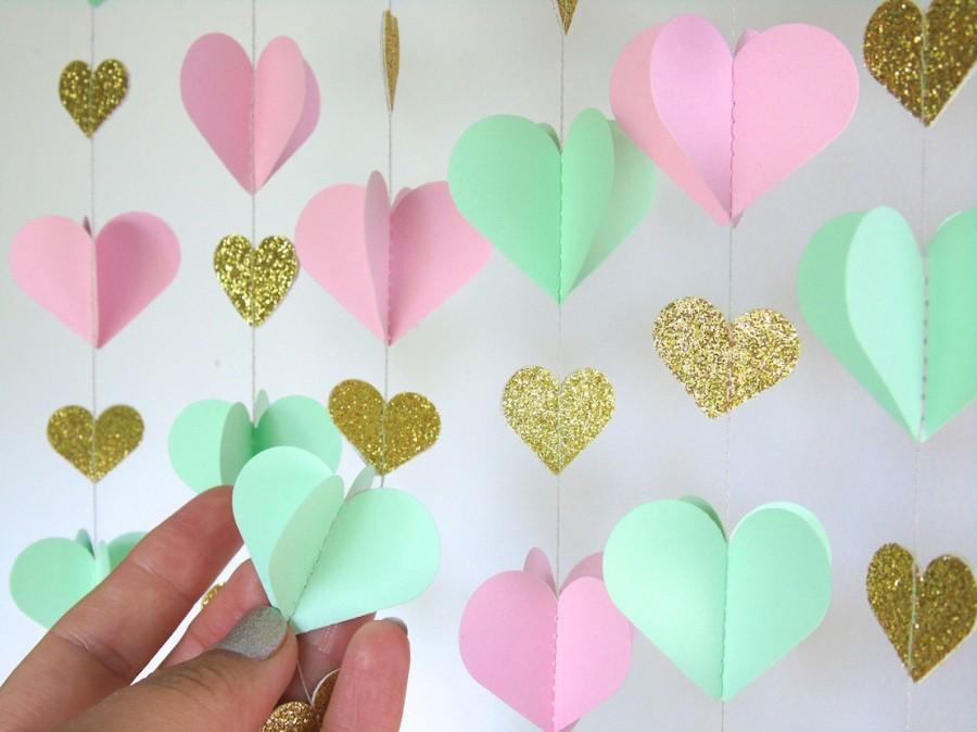 Hearts Garland Paper Garland In Blush Mint And Gold Bridal Shower