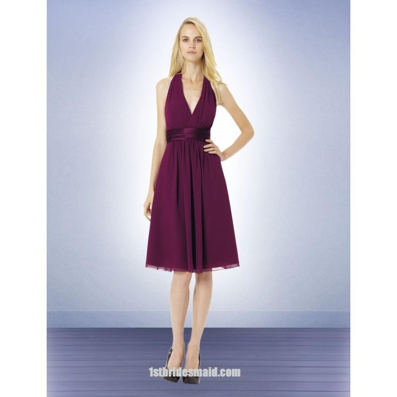 Свадьба - A-line Halter Knee-length Chiffon Bridesmaid Dress with Satin Ribbon(BD0525)