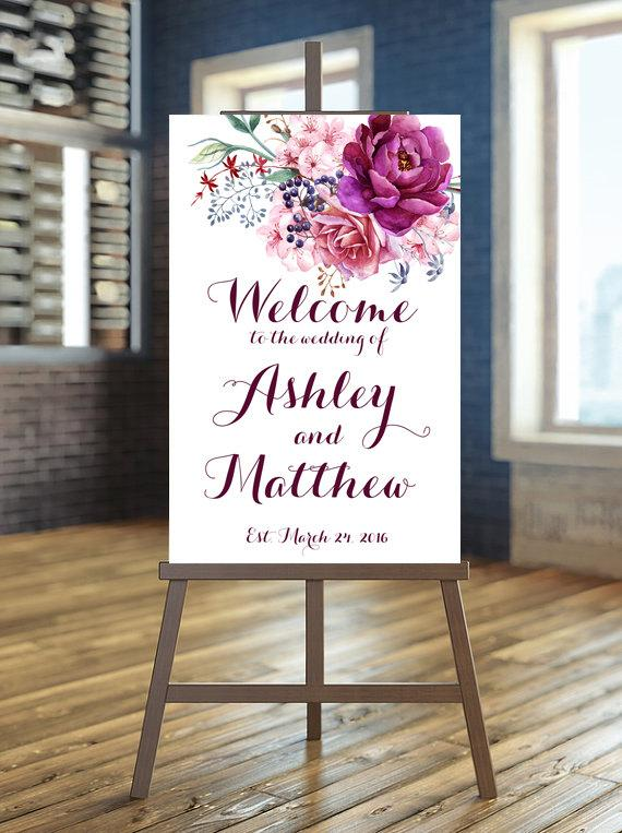 Printable wedding sign welcome wedding sign floral wedding sign printable wedding sign welcome wedding sign floral wedding sign purple sign burgundy wedding sign floral welcome sign custom sign junglespirit Choice Image