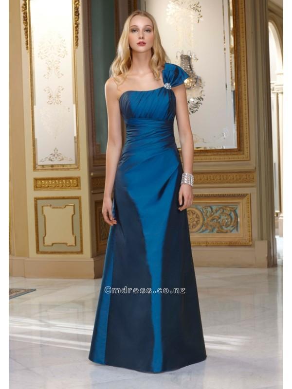 Свадьба - A-Line One-Shoulder Floor-length Taffeta Bridesmaid DressSKU: MLB654