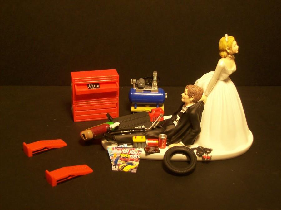 Wedding - NEW AUTO MECHANIC Bride and Groom Wedding Cake Topper Tools Funny