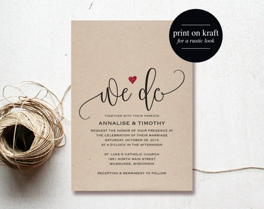 We Do Wedding Invitation Template, Rustic Kraft Invitation, Heart ...