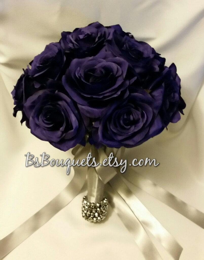 Hochzeit - Bridal Bouquet Purple, Beaded, Handle, Bouquet