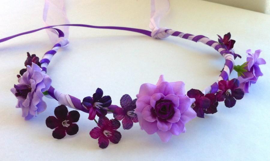 Open Rose And Gypso Fl Bridal Or Flower Ribbon Crown Halo Head Piece Wreath Garland Purple Lilac Lavender C Debbie