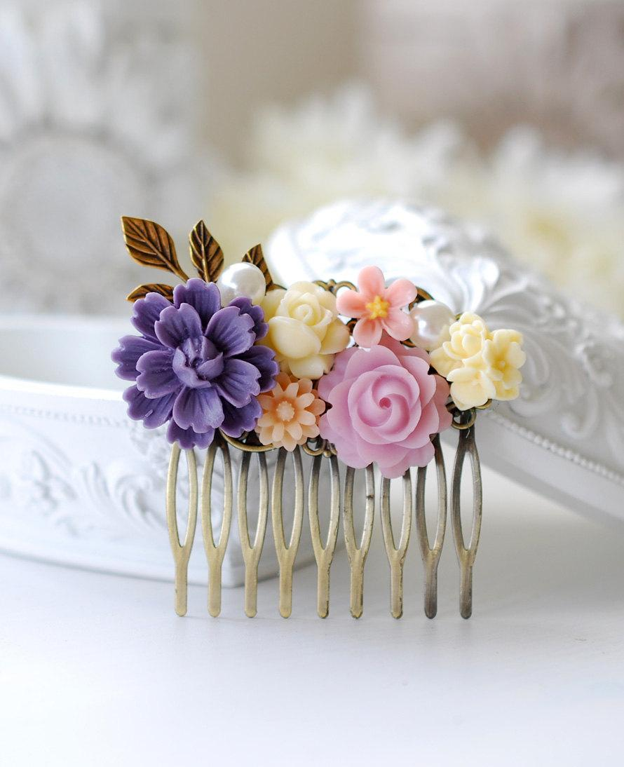 Wedding - Purple Lilac Ivory Pink Flower Bridal Hair Comb. Vintage Style Collage Hair Comb, Filigree Hair Comb, Purple Wedding Hair Accessory