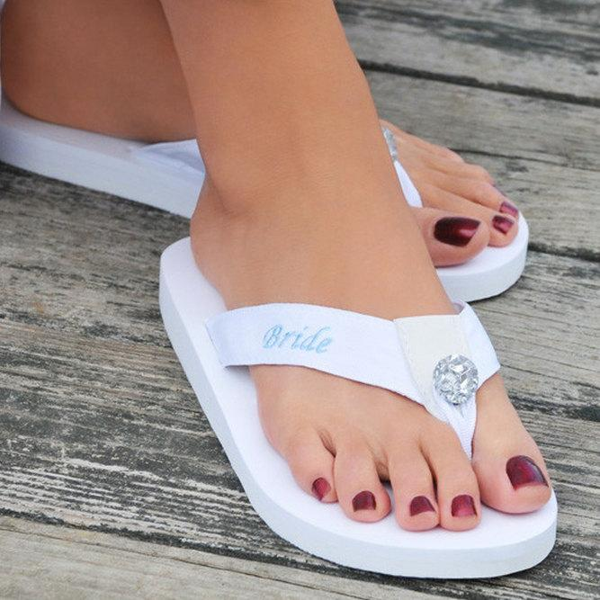 Свадьба - Bride Wedding Flip Flops