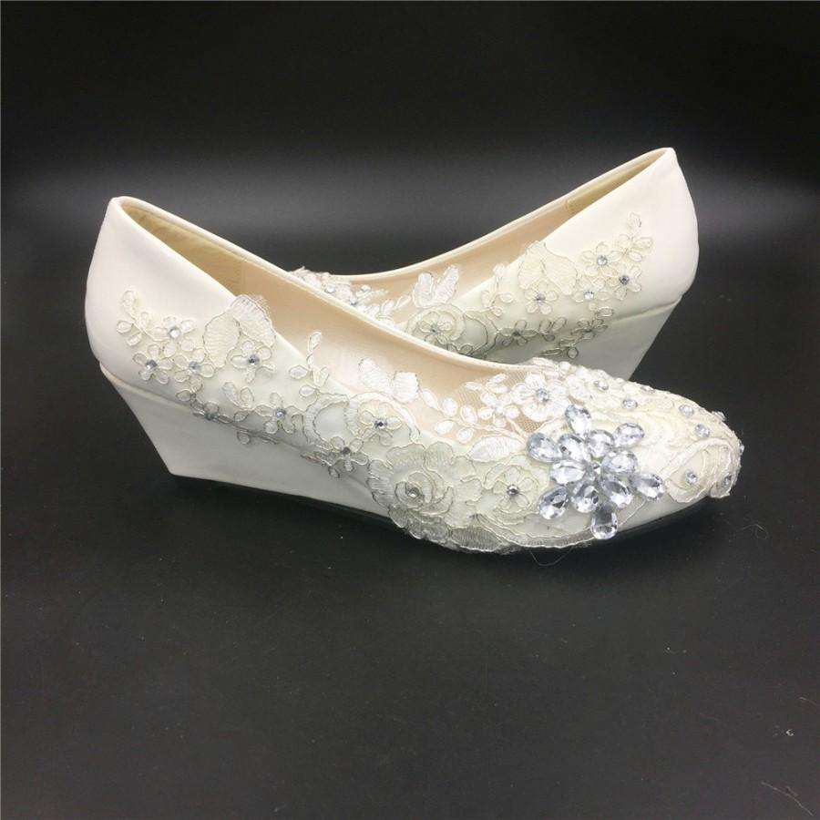 Düğün - Ivory White Wedding Wedges,Women Bridal Wedges Shoes,Comfortable Low Heels Wedge Wedding Shoes