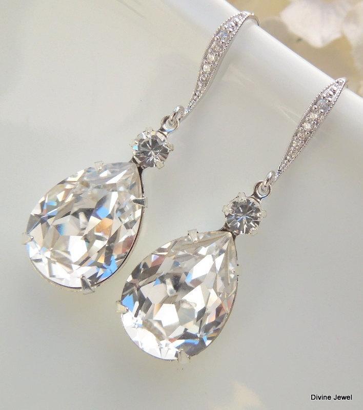 Mariage - Bridal Earrings,Bridal Wedding Earrings,Crystal Bridal earrings,Wedding Bridal jewelry,Swarovski Crystal,Crystal Drop Bridal Earrings,ARIA