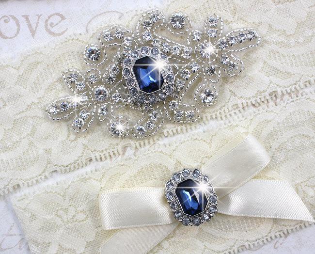 Mariage - SALE - RACHEL - Sapphire Blue Wedding Garter Set, Wedding Stretch Lace Garter, Rhinestone Crystal Bridal Garters, Something Blue