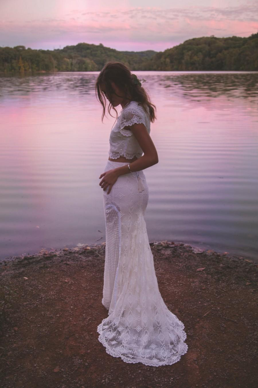 """Mariage - Vintage Inspired Crochet Lace Gown, Two Piece Wedding Dress, Cap Sleeves Gown, Maxi Wedding Dress - """"Morrison"""""""