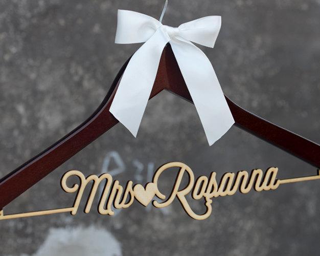 Personalized Rustic Wedding Dress Hanger New Tech Bride Bridesmaid Wood Name Custom Bridal Shower Gift Cml002