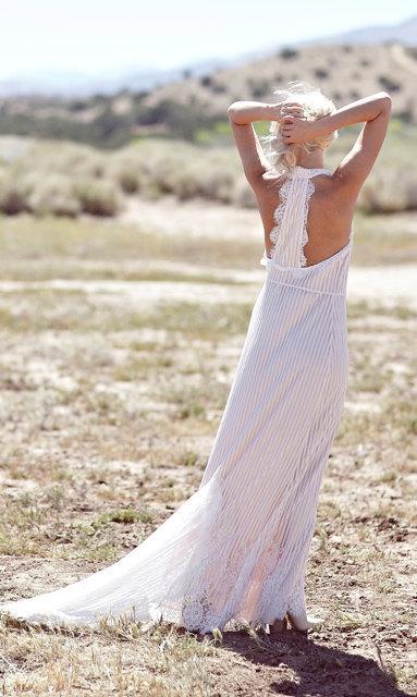 "Mariage - Bohemian Wedding Dress, 1970s Bohemian Hippie Gown, Racer Back, Lace Dress- ""Zola"""