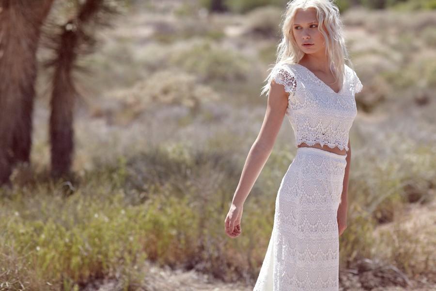 Bohemian Wedding Gown, Maxi Dress, Crochet Lace Dress, Two