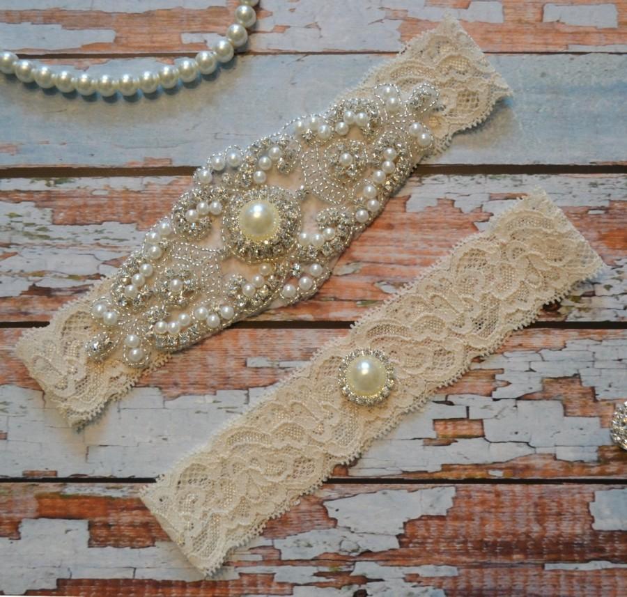 Wedding Garter Set Rhinestone Pearl Bridal Belt Ivory Beaded Lace Vintage Style