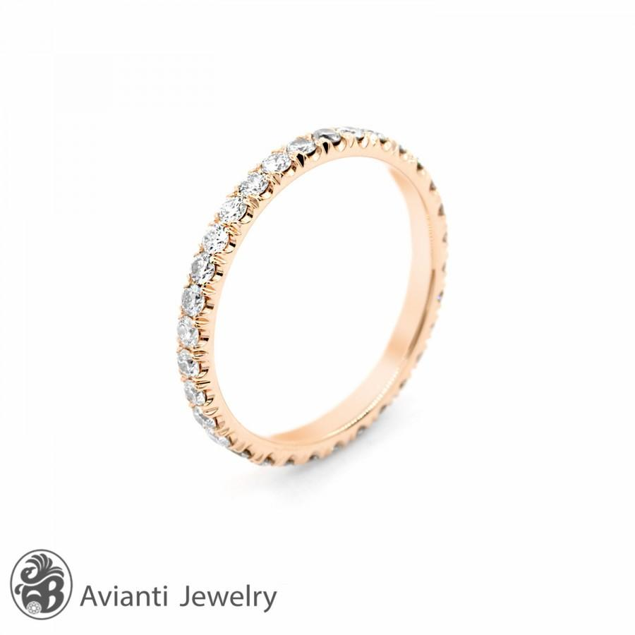 Ring Eternity Band Eternity Diamond Ring 14 Karat Rose Gold Ring