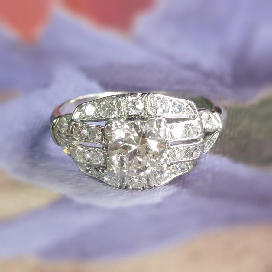 Art Deco 1930's Vintage 108ct Tw Old European Cut Diamond Engagement Ring  Platinum