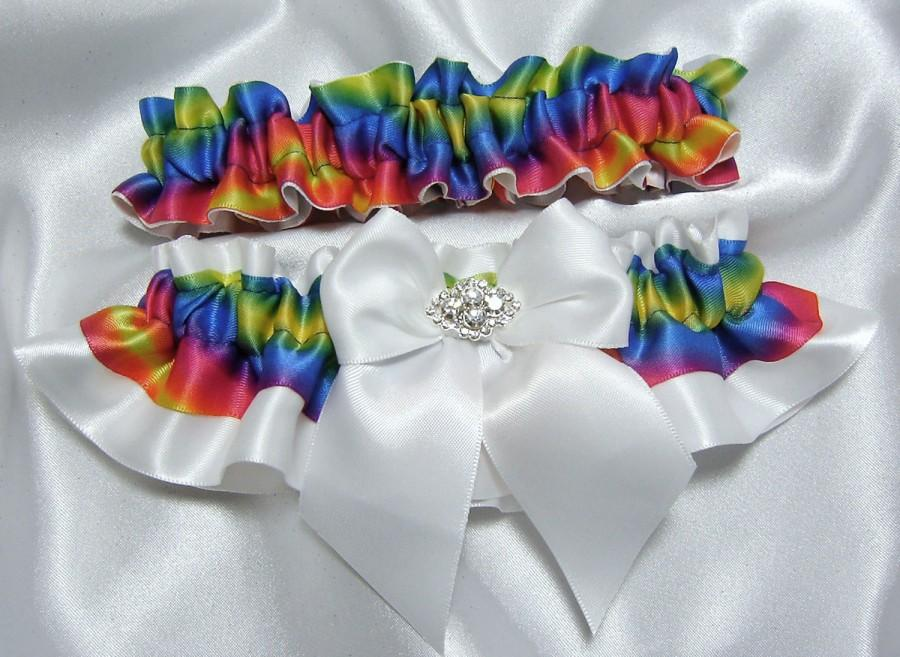 Свадьба - Rainbow Wedding Garter set - w/ Large Bow and Beautiful Crystal Adornment - Available w/ White, Ivory, or Black